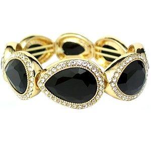 Monet Gold Tone & Black Stretch Bracelet | 76